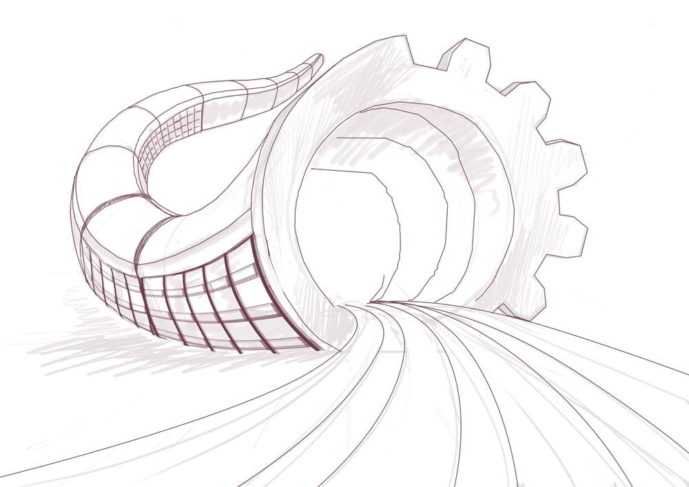 Изображение: Набросок иллюстрации. Рог-хвост-вагон.