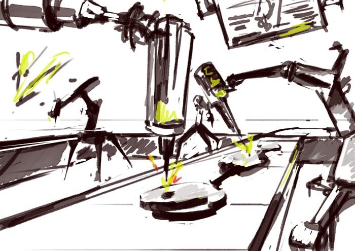 Изображение: Набросок рисунка. Завод будущего.