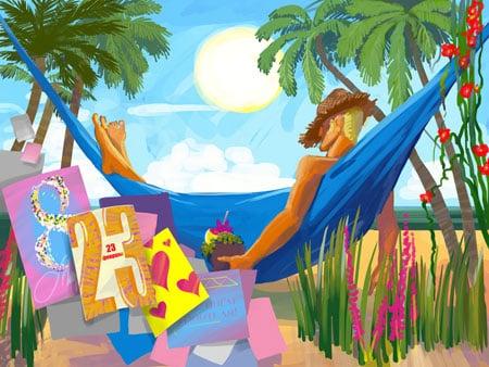 дизайн корпоративных открыток пляж