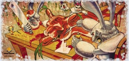 новогодняя открытка заяц и лев – Новости студии дизайна «Aedus Design»
