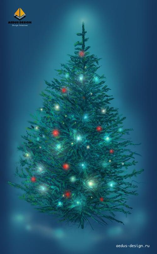 иллюстрация елка