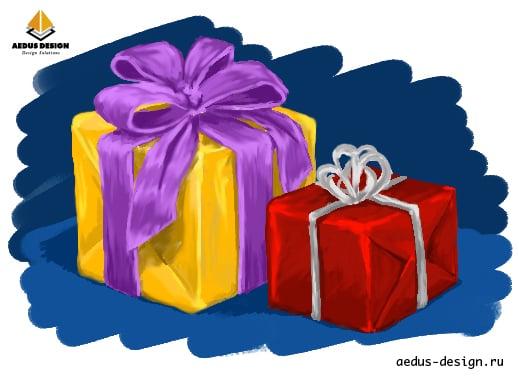 новогодние рисунки подарки – Новости студии дизайна «Aedus Design»