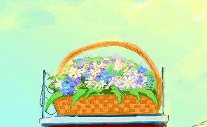 иллюстрация для открытки - корзина цветов