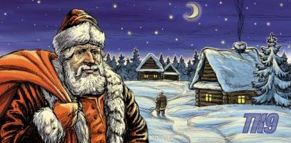 Дед Мороз и дети - новогодняя открытка
