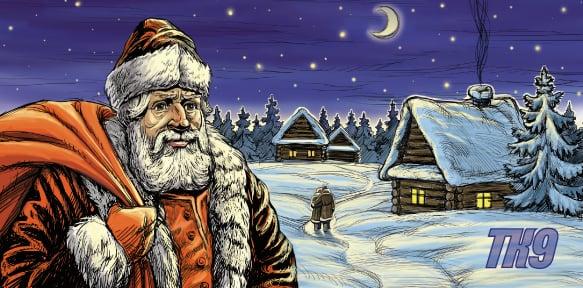 Дед Мороз и дети - новогодняя открытка – Новости студии дизайна «Aedus Design»