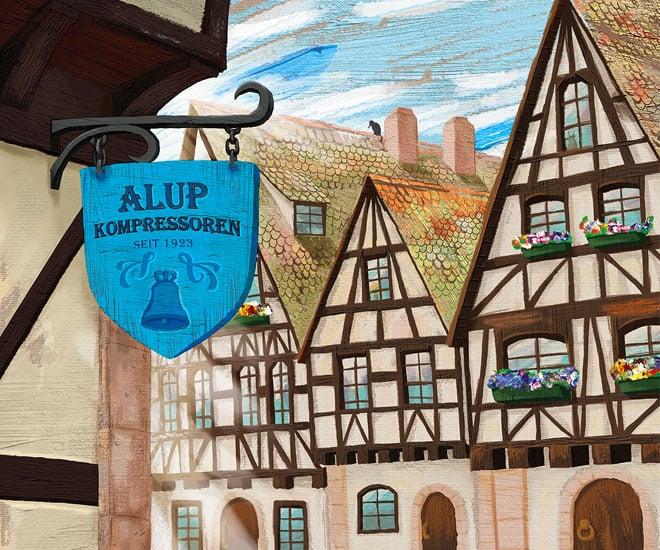 Иллюстрации для календаря «ALUP Compressoren» в разделе «Иллюстрации» портфолио дизайн-студии «Aedus Design»