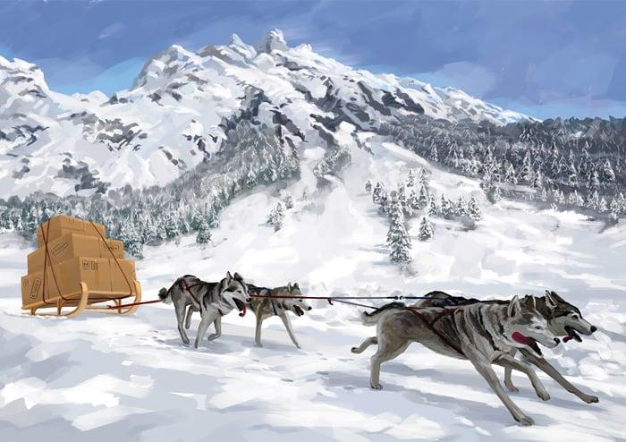Иллюстрация для новогоднего календаря «Транспортные системы» в разделе «Иллюстрации» портфолио дизайн-студии «Aedus Design»