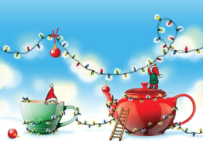 Иллюстрация для новогодней рекламной продукции Le Creuset Россия в разделе «Иллюстрации» портфолио дизайн-студии «Aedus Design»