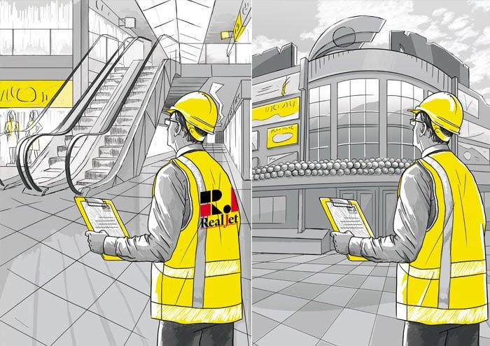 Серия иллюстраций для рекламных модулей «RealJet» в разделе «Иллюстрации» портфолио дизайн-студии «Aedus Design»