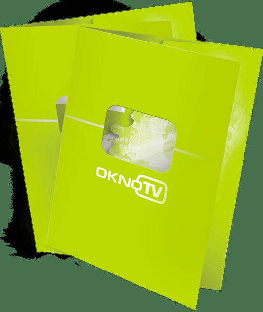 Папки «ОКНО-ТВ» в разделе «Разное» портфолио дизайн-студии «Aedus Design»