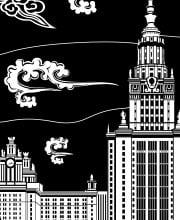 Иллюстрация здания МГУ в стиле корейской графики