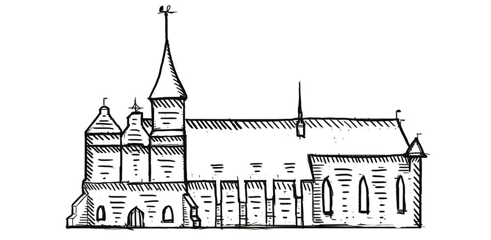 Изображение: Первый этап отрисовки здания: фасад повернут в сторону зрителя