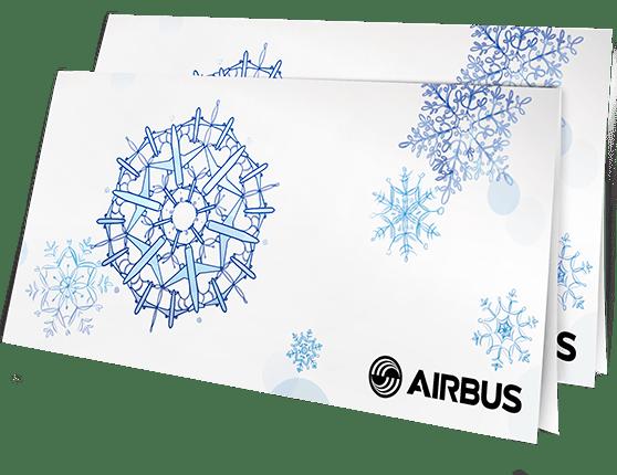 Открытка для авиастроительной компании «Airbus» в разделе «Открытки» портфолио дизайн-студии «Aedus Design»