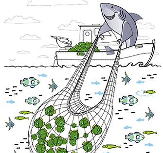 Векторные тематические рисунки для брошюры «Sales Leads»