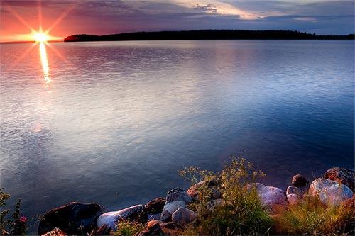 закат озеро отрадное