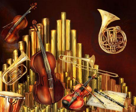 Рисунок музыкальных инструментов в разделе «Иллюстрации» портфолио дизайн-студии «Aedus Design»